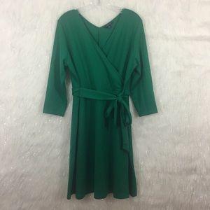 Lands' End emerald wrap dress